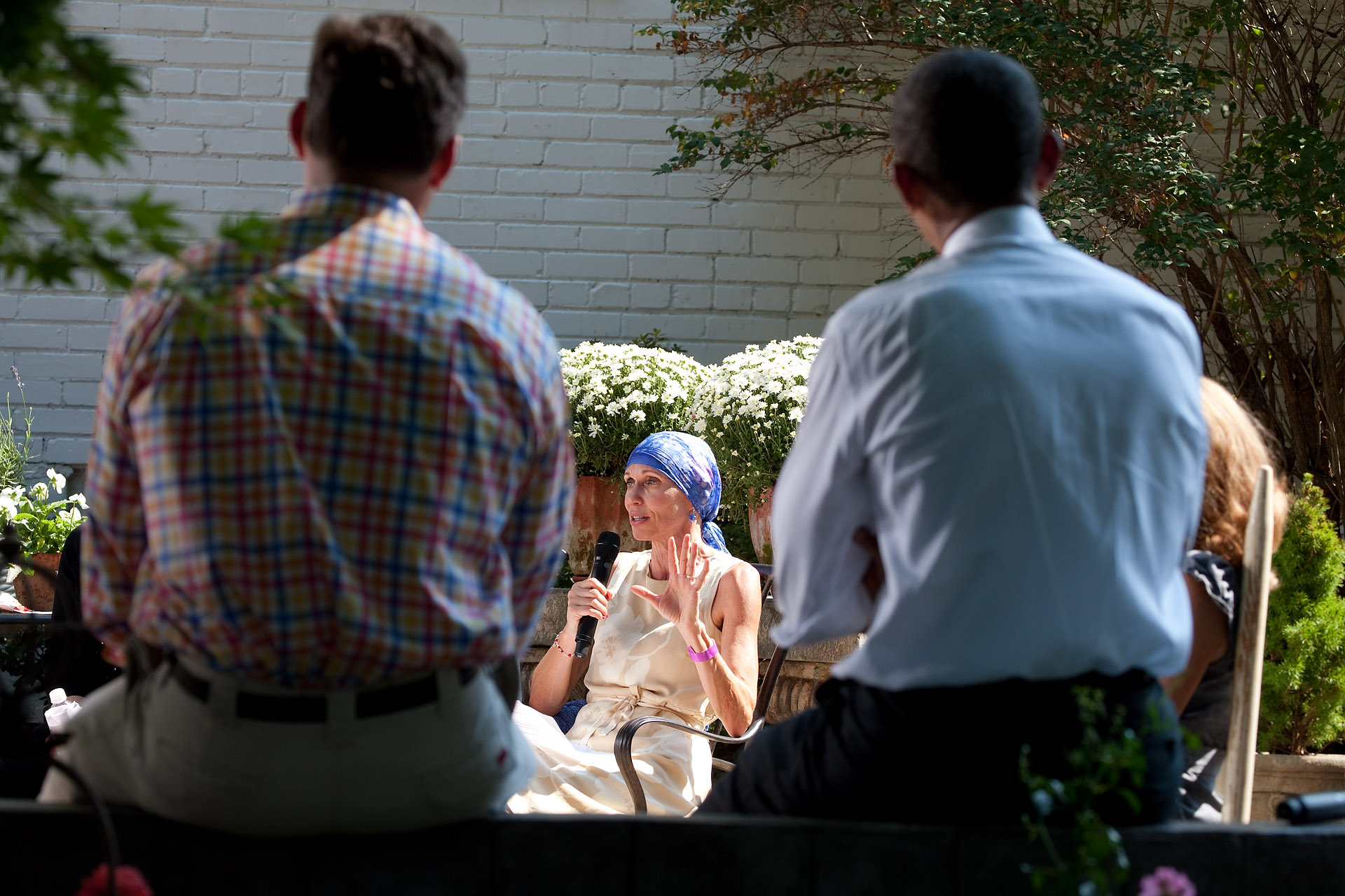 President Barack Obama Listens to Gail O'Brien, from Keene, N.H., During a Discussion on Health Care Reform