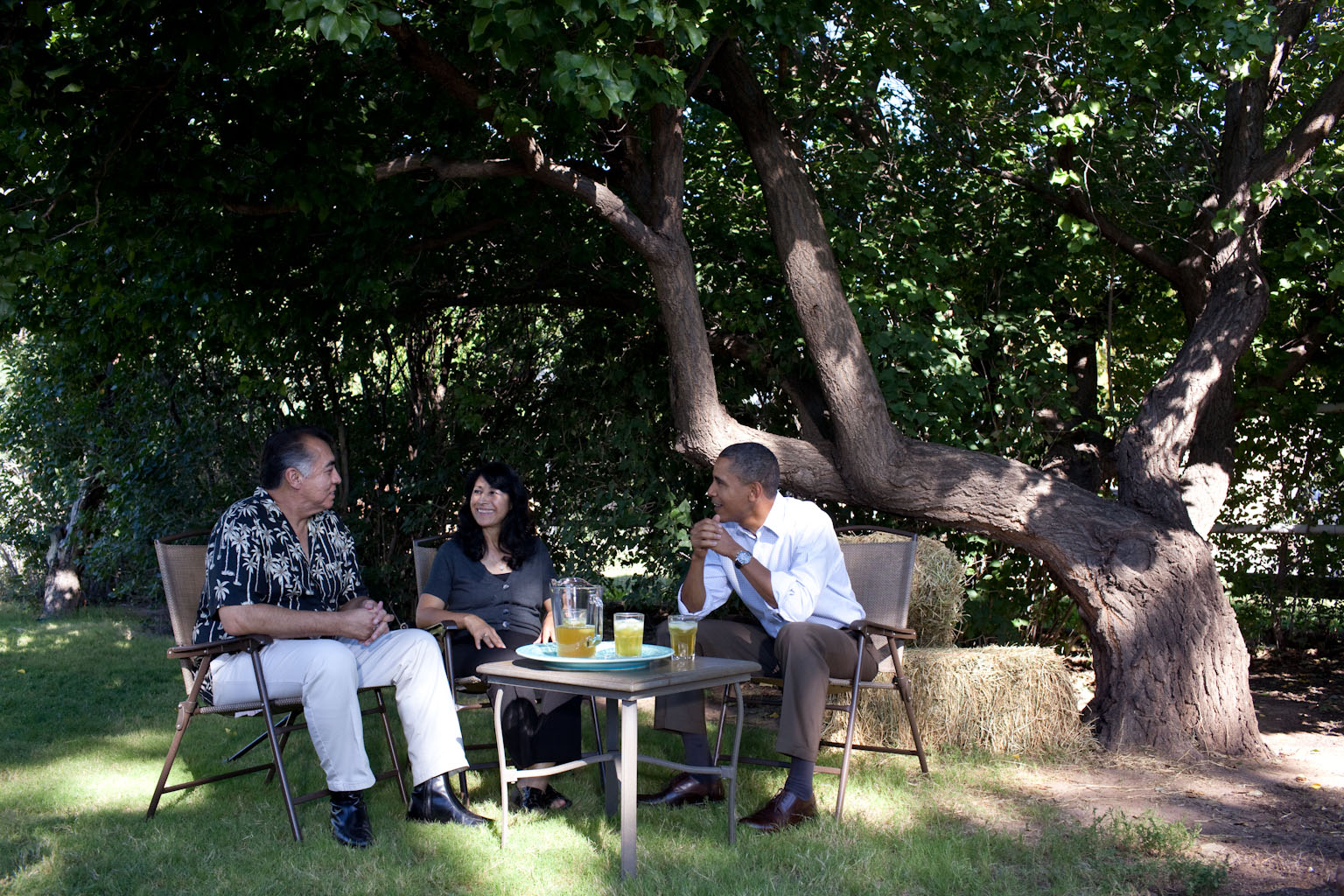 President Barack Obama Meets with Andy and Etta Cavalier at their Home in Albuquerque, New Mexico