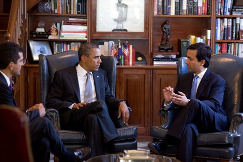 President Obama meeting Governor Fortuno and Rep. Pedro Pierluisi
