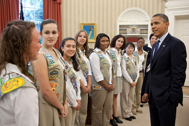 President Barack Obama talks with Girl Scout Gold Award winners in the Oval Office