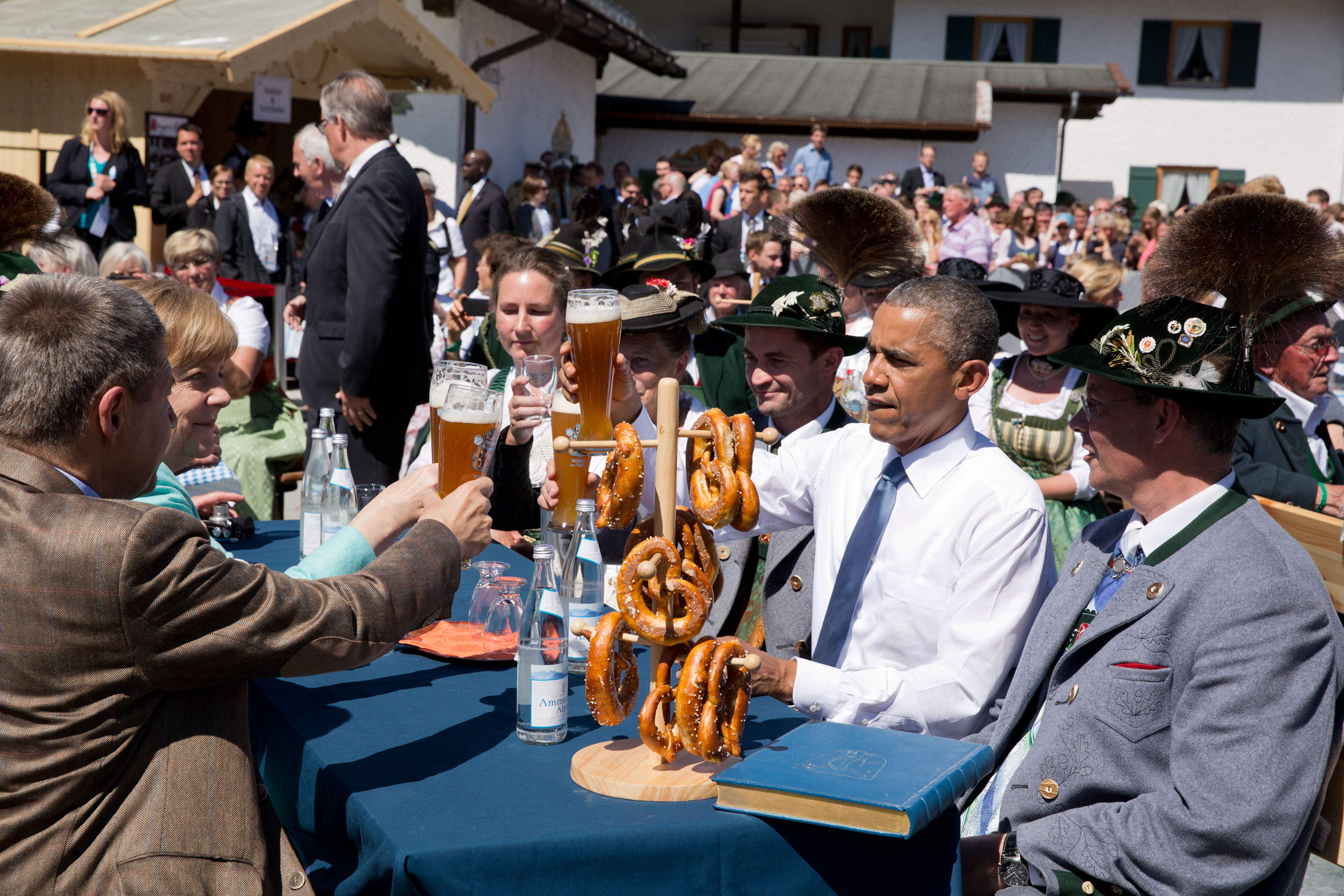 President Obama toasts with Germany's Angela Merkel