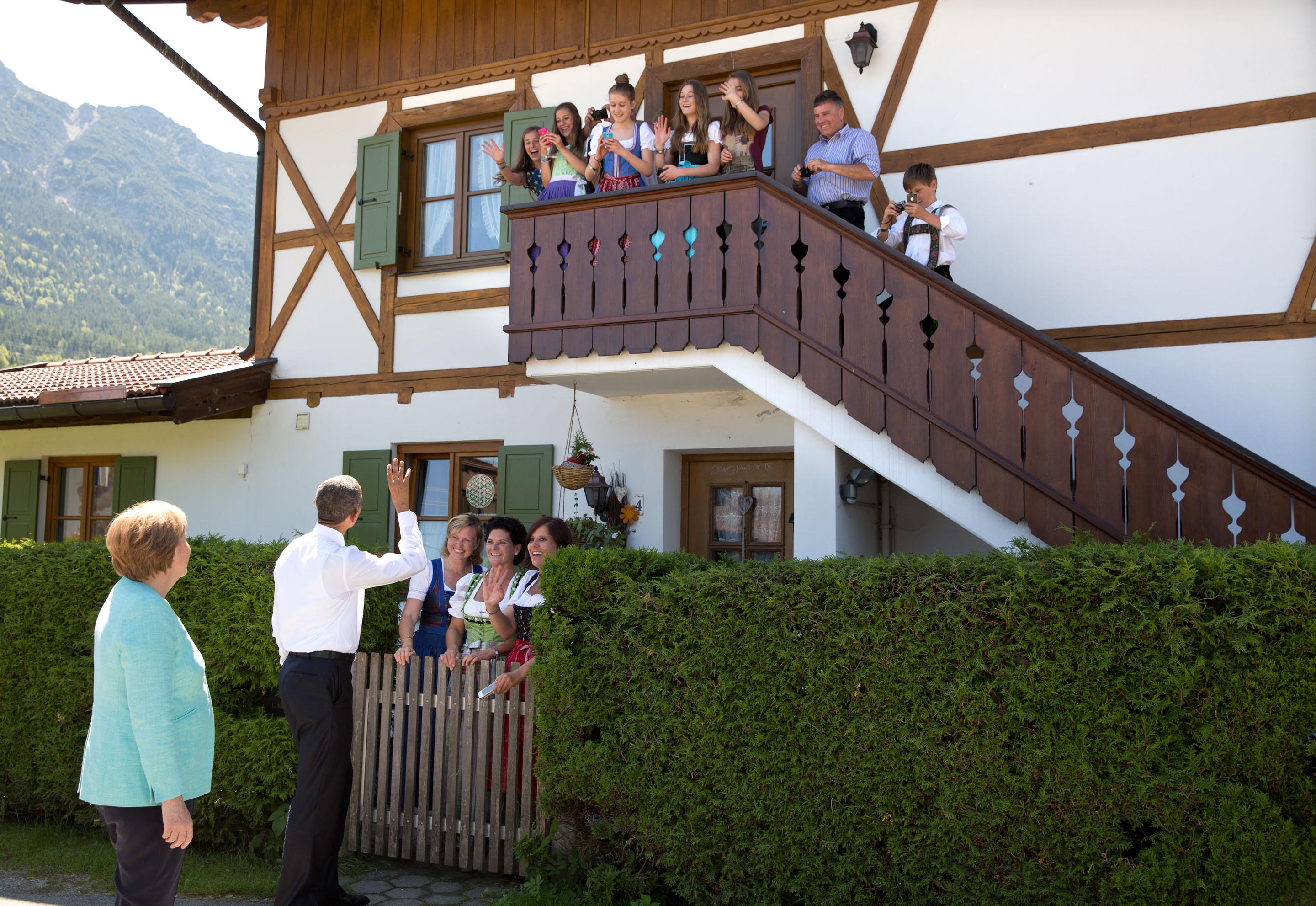 President Obama waves to locals in Germany