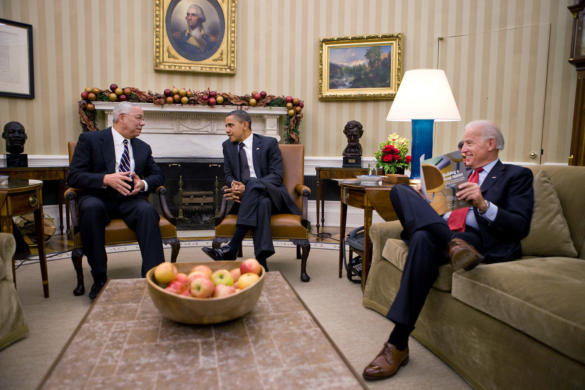 The President and Vice President Meet With Former Secretary of State Colin Powell