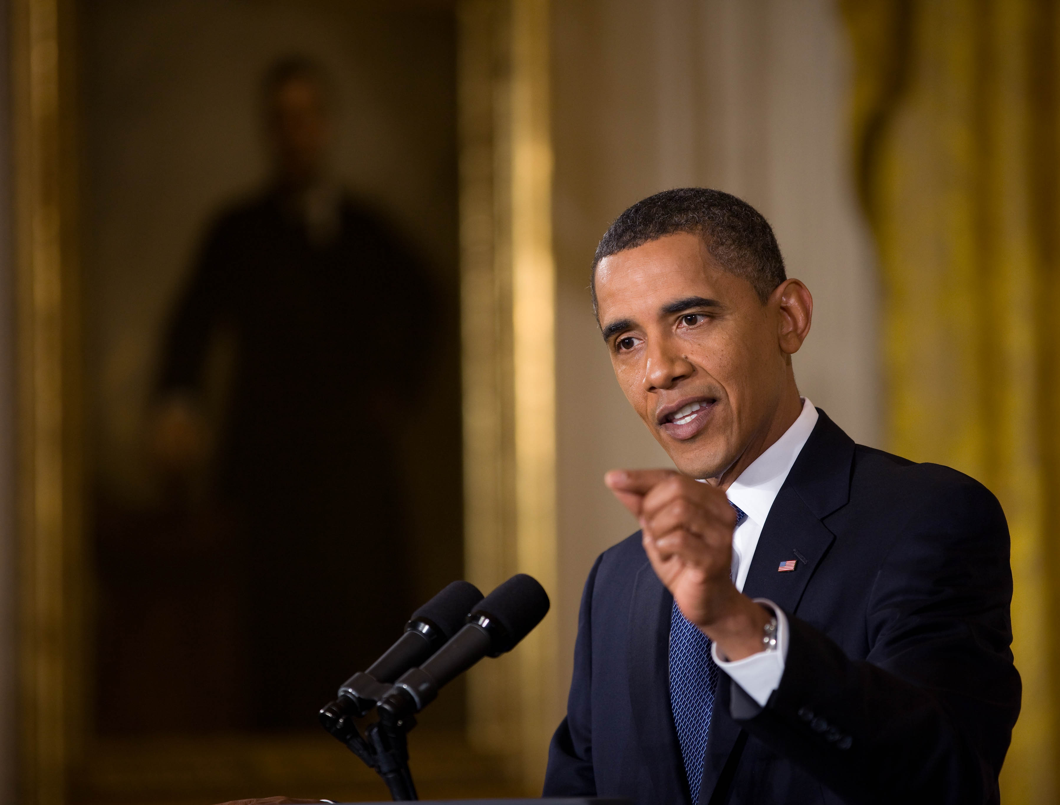 President Barack Obama Holds a News Conference in the East Room of the White House