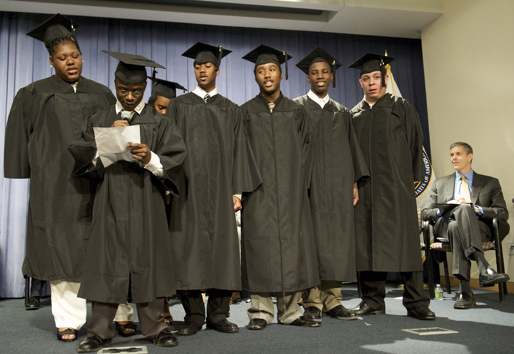 Education Secretary Arne Duncan Listens as Project SEARCH Students Recite a Poem at Graduation