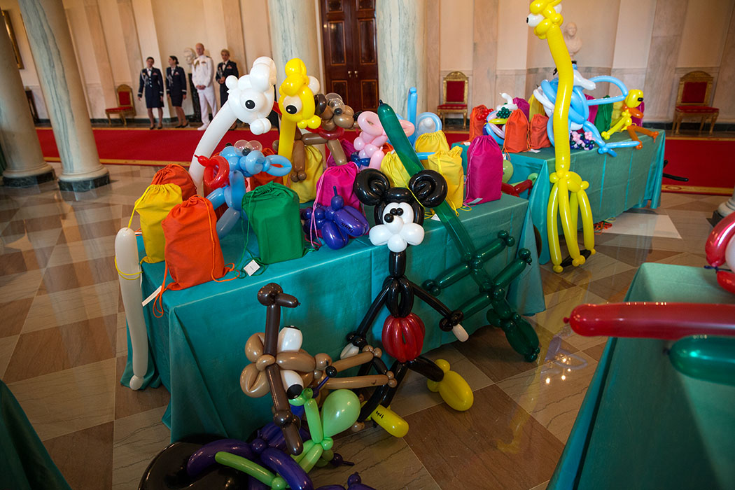 Balloon animals cover tables in the Grand Foyer of the White House