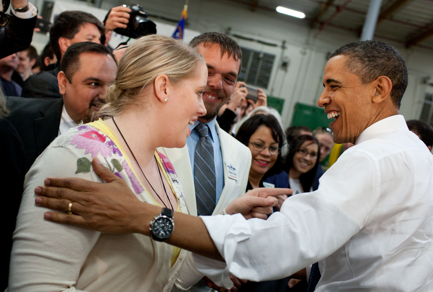 President Barack Obama Speaks with Audience Members at a Town Hall Meeting at ElectraTherm, Inc. in Reno, Nevada