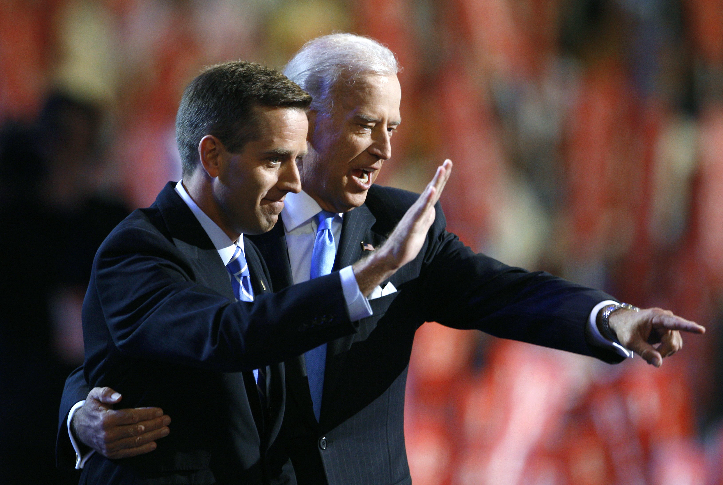 Vice Presidential candidate Joe Biden and his son Beau Biden on stage together at the 2008 Democratic National Convention in Denver