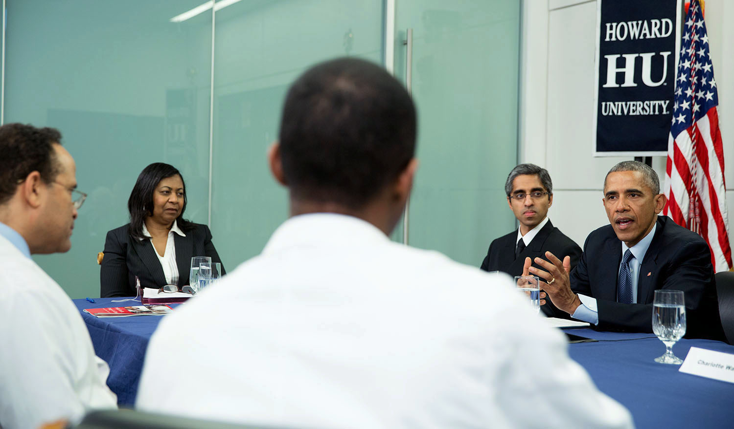 President Obama gives remarks at roundtable at Howard
