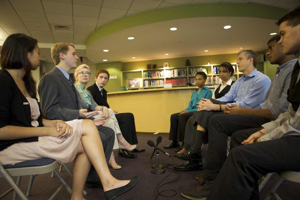 Secretary Duncan Speaks with Students from GLSEN and GSA