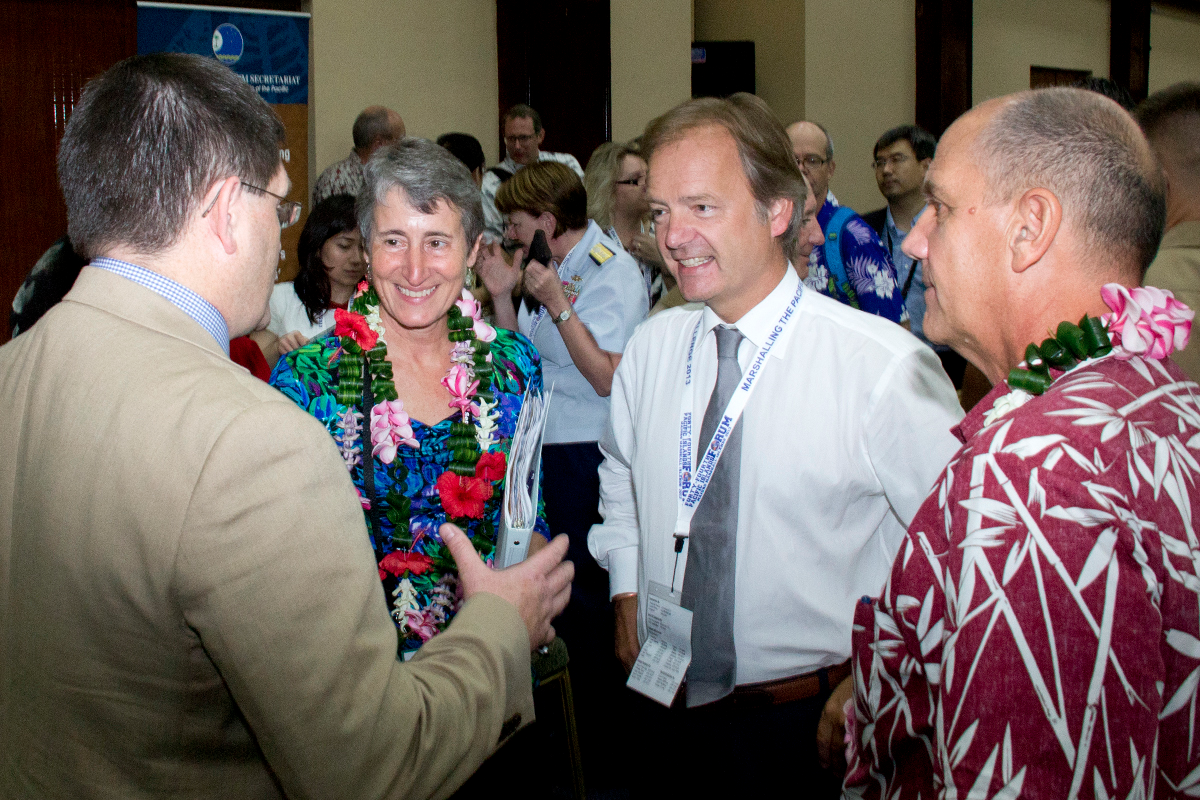 Secretary of the Interior Sally Jewell speaks with participants at an event in the Marshall Islands