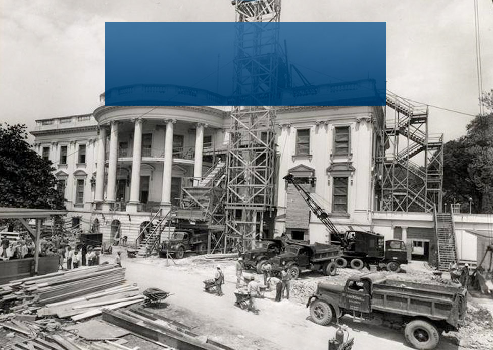 Photo of the White House under construction