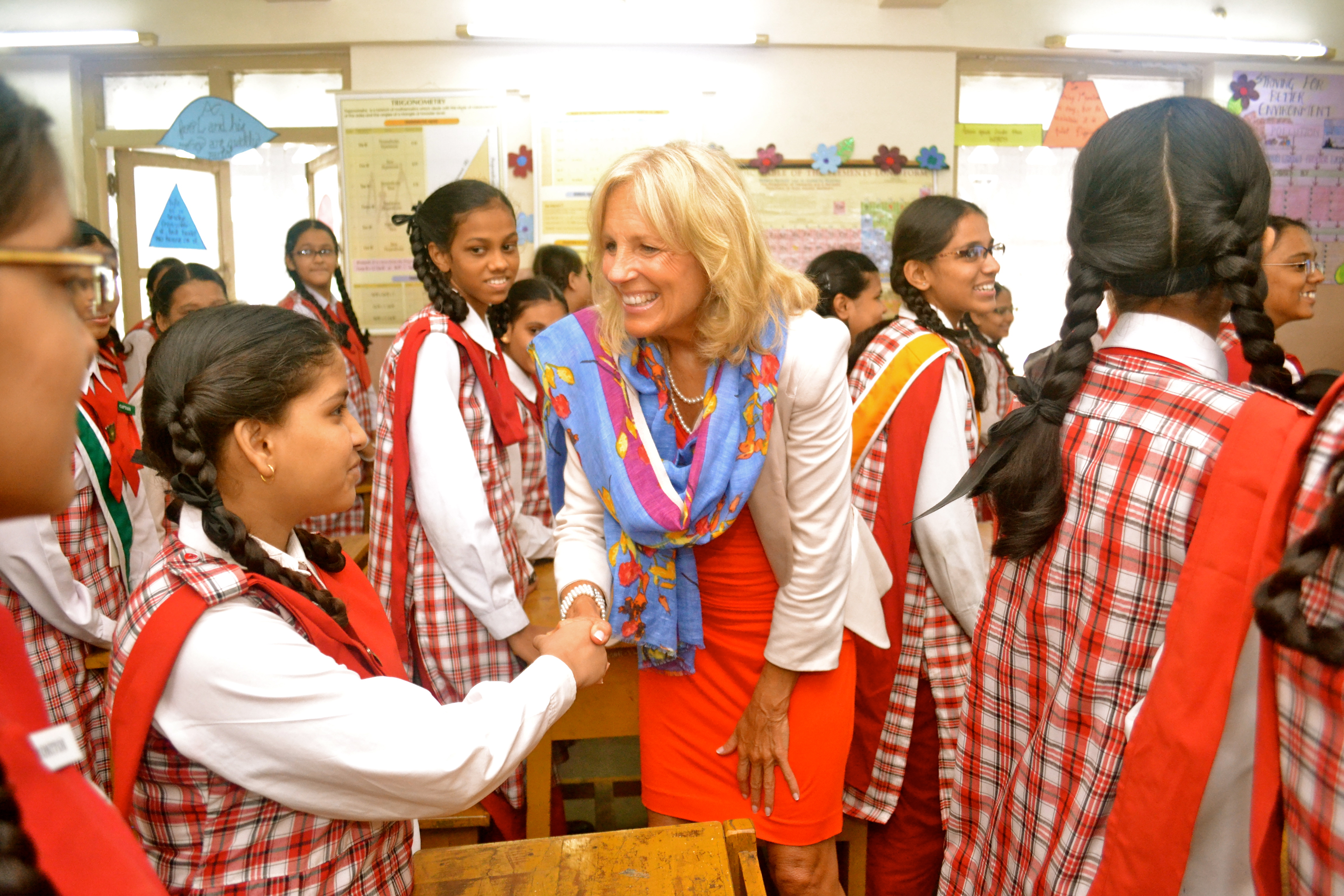 Dr. Biden meets with students in an English class