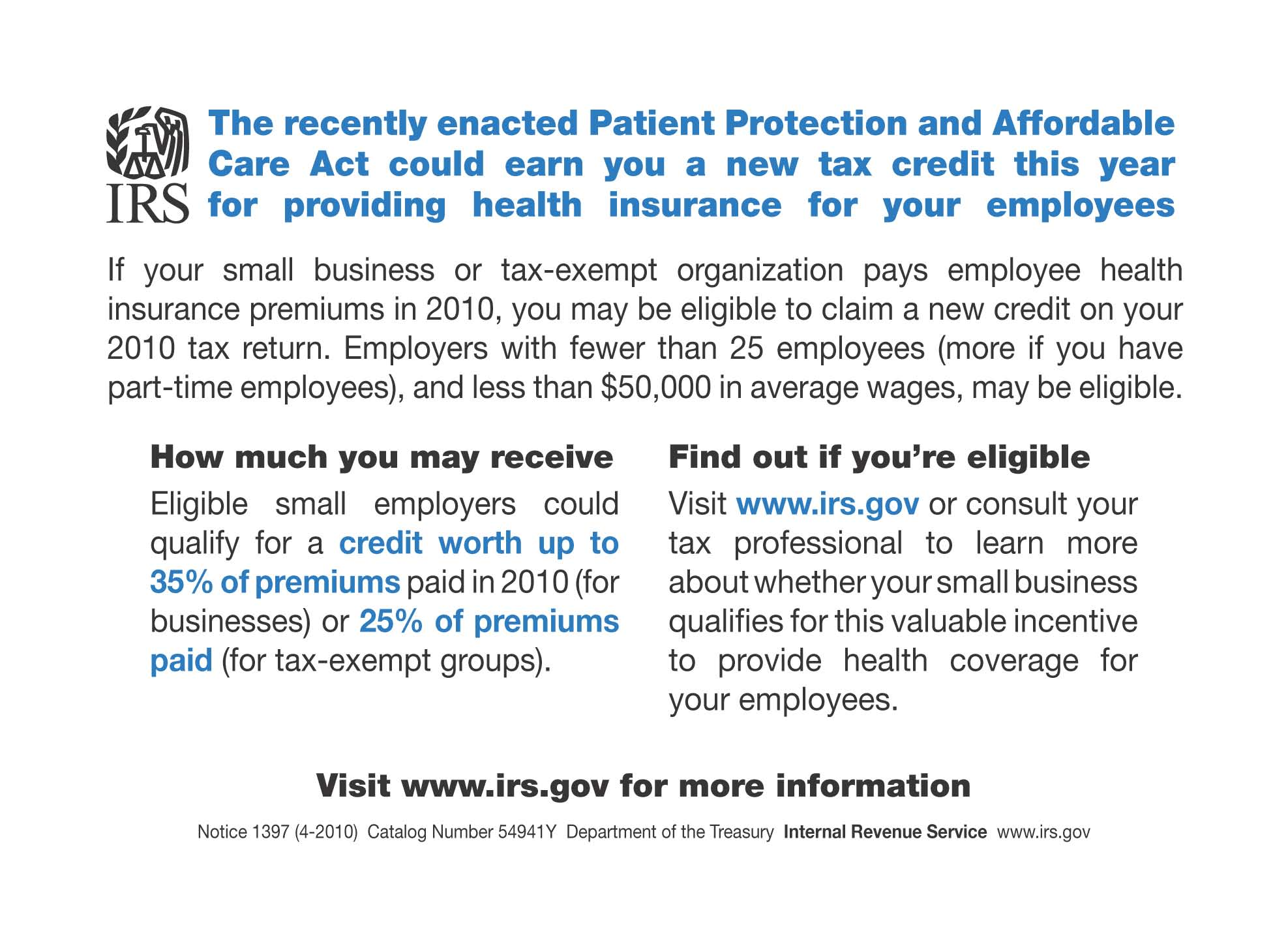 Health Reform Small Business Tax Credit Postcard