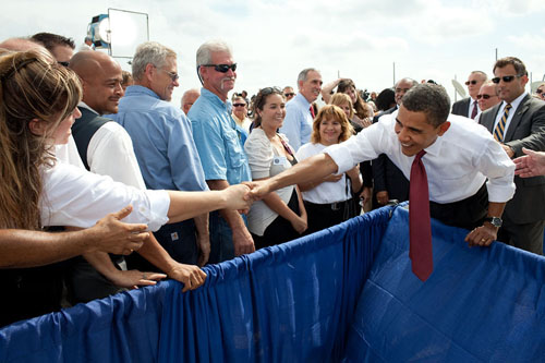 President Obama Shakes Hands at the Smart Grid