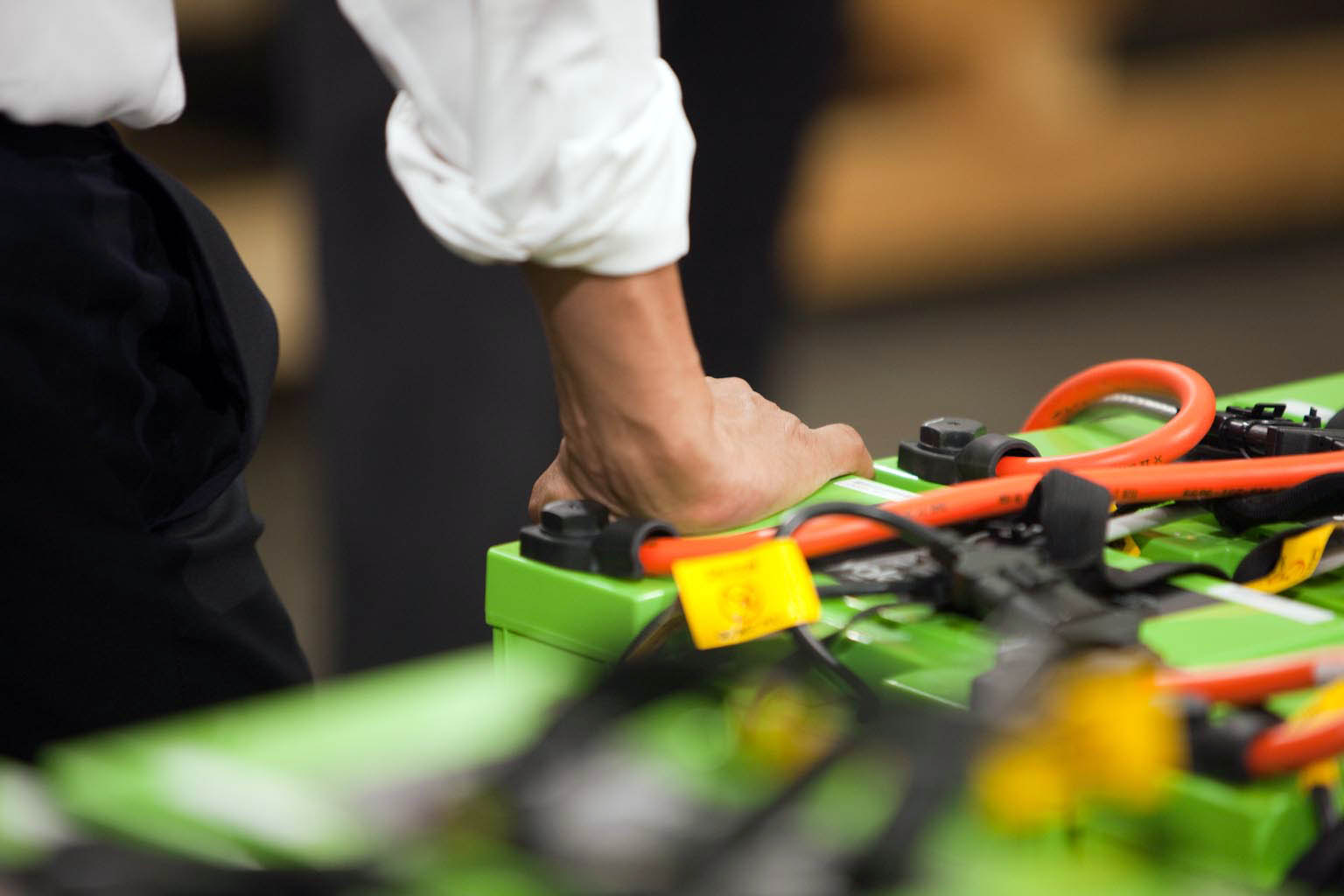 President Barack Obama's Hand on Rechargeable Batteries at Smith Electric Vehicles in Kansas City