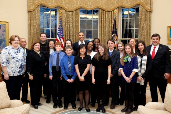 Students with the President for ISS call