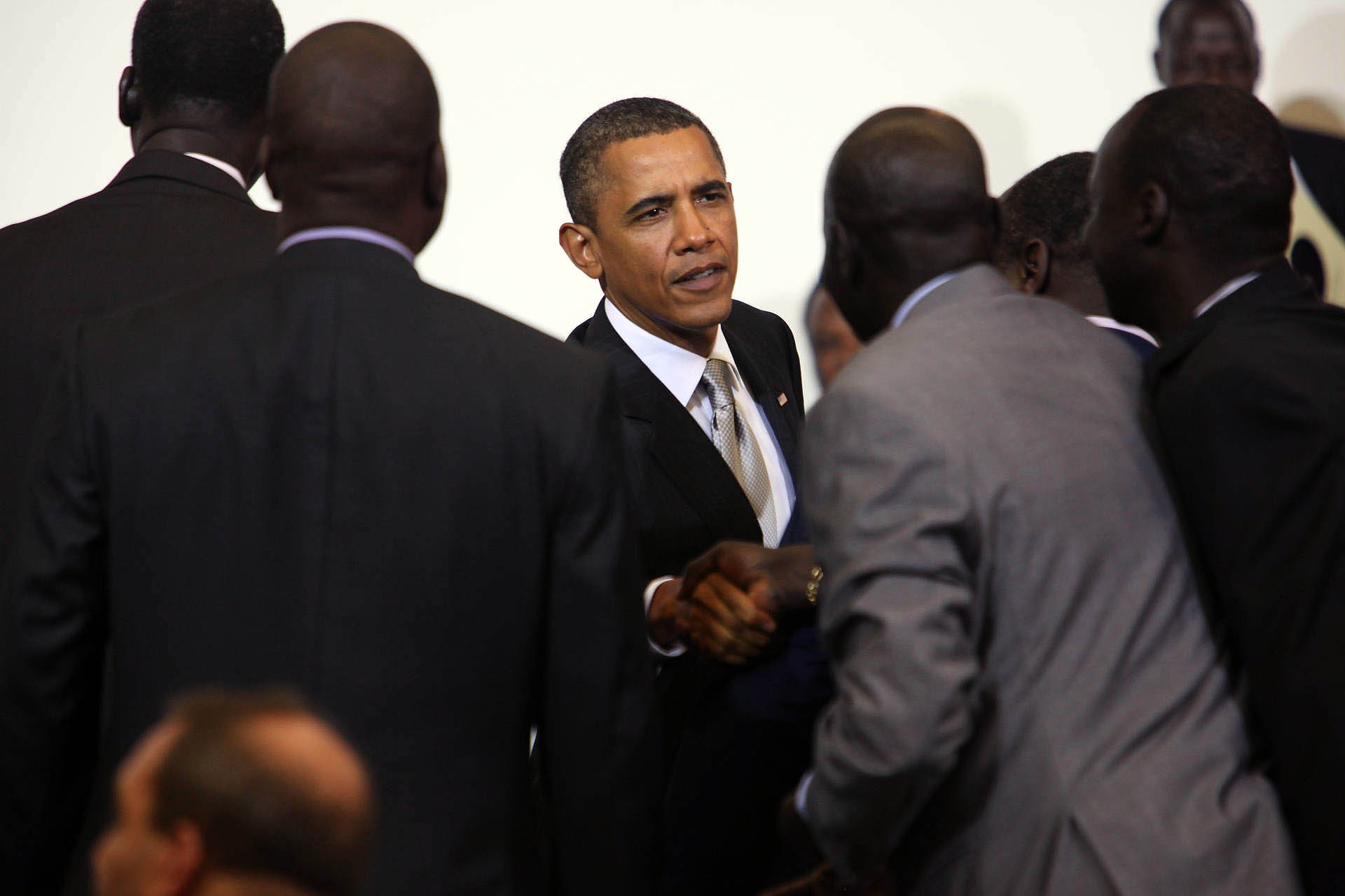 President Barack Obama Shakes Hands at a Ministerial Meeting on Sudan