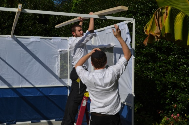 Before the reception, sukkah builders from American Friends of Lubavitch came to the Vice President's official residence to build the sukkah