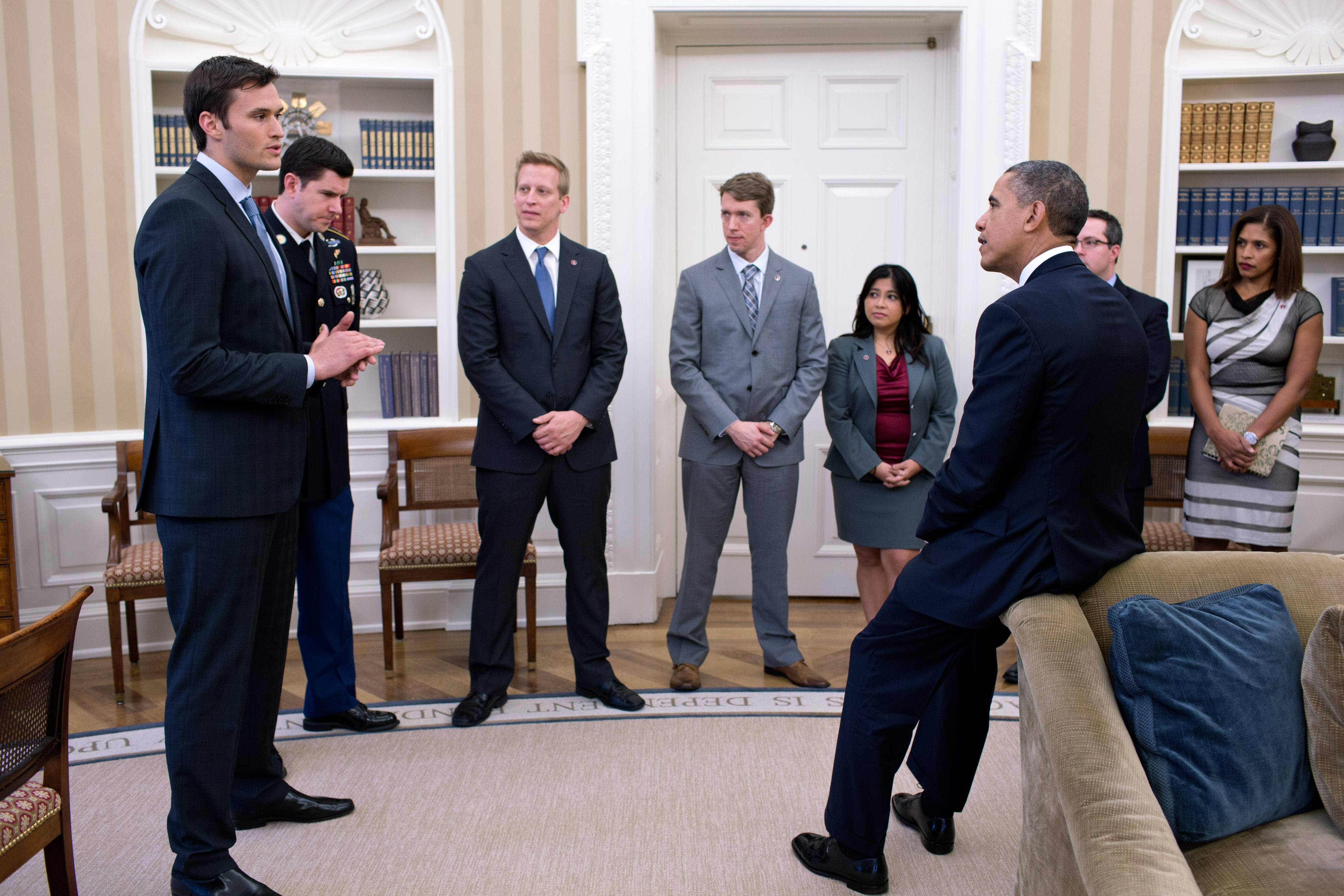 President Obama talking with Team Rubicon in the Oval Office