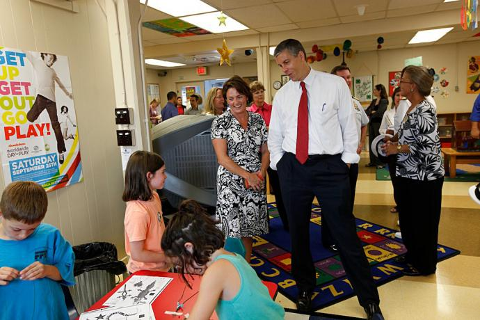 Department of Education Arne Duncan visits with military families