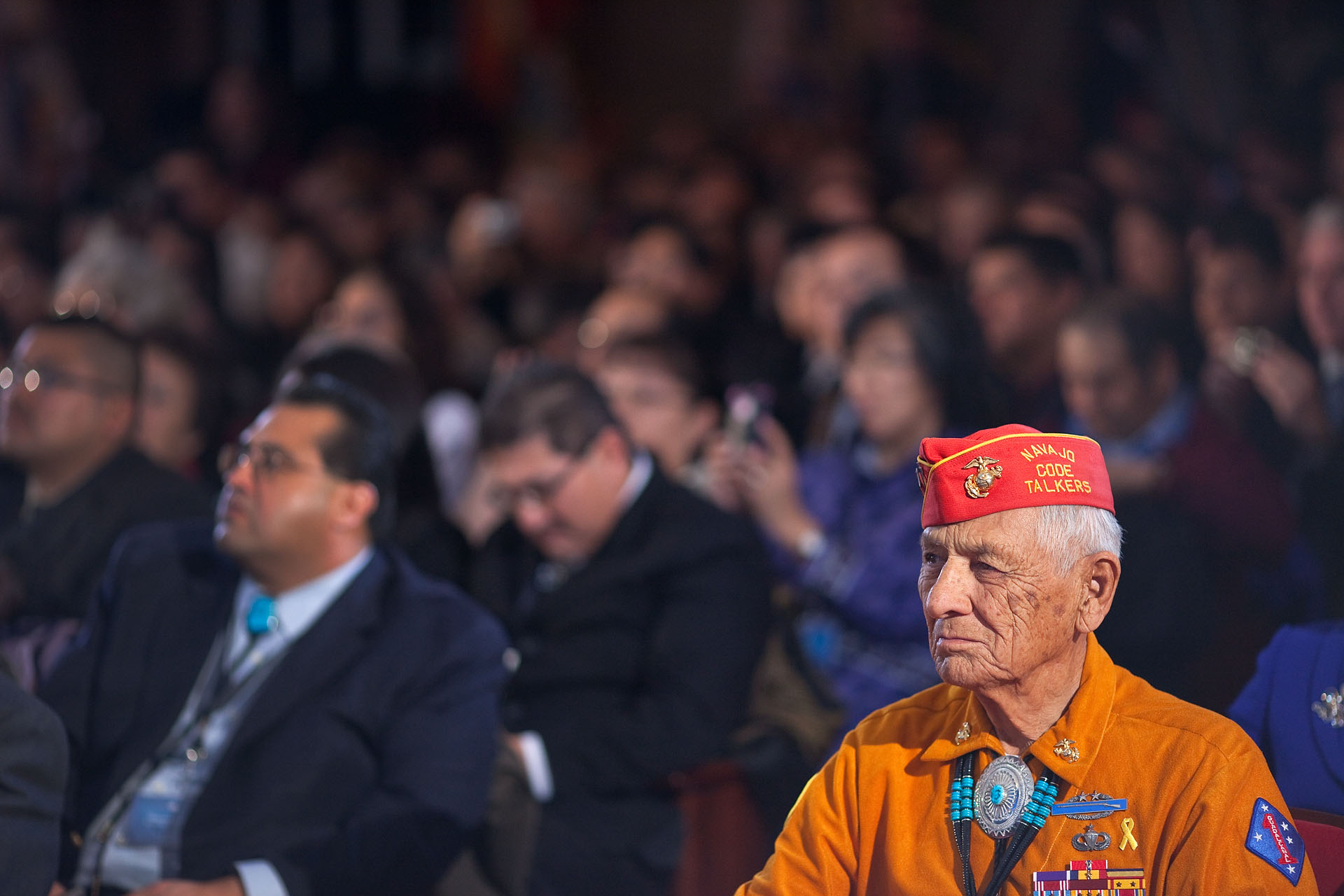 A Navajo Code Talker from WWII Listens to President Barack Obama at the Tribal Nations Conference