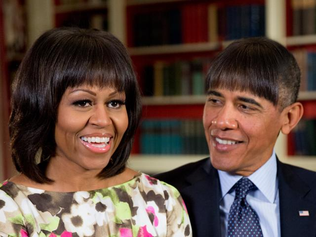 President Obama demonstrates that no one can pull off bangs quite like the First Lady at the White House Correspondents Dinner