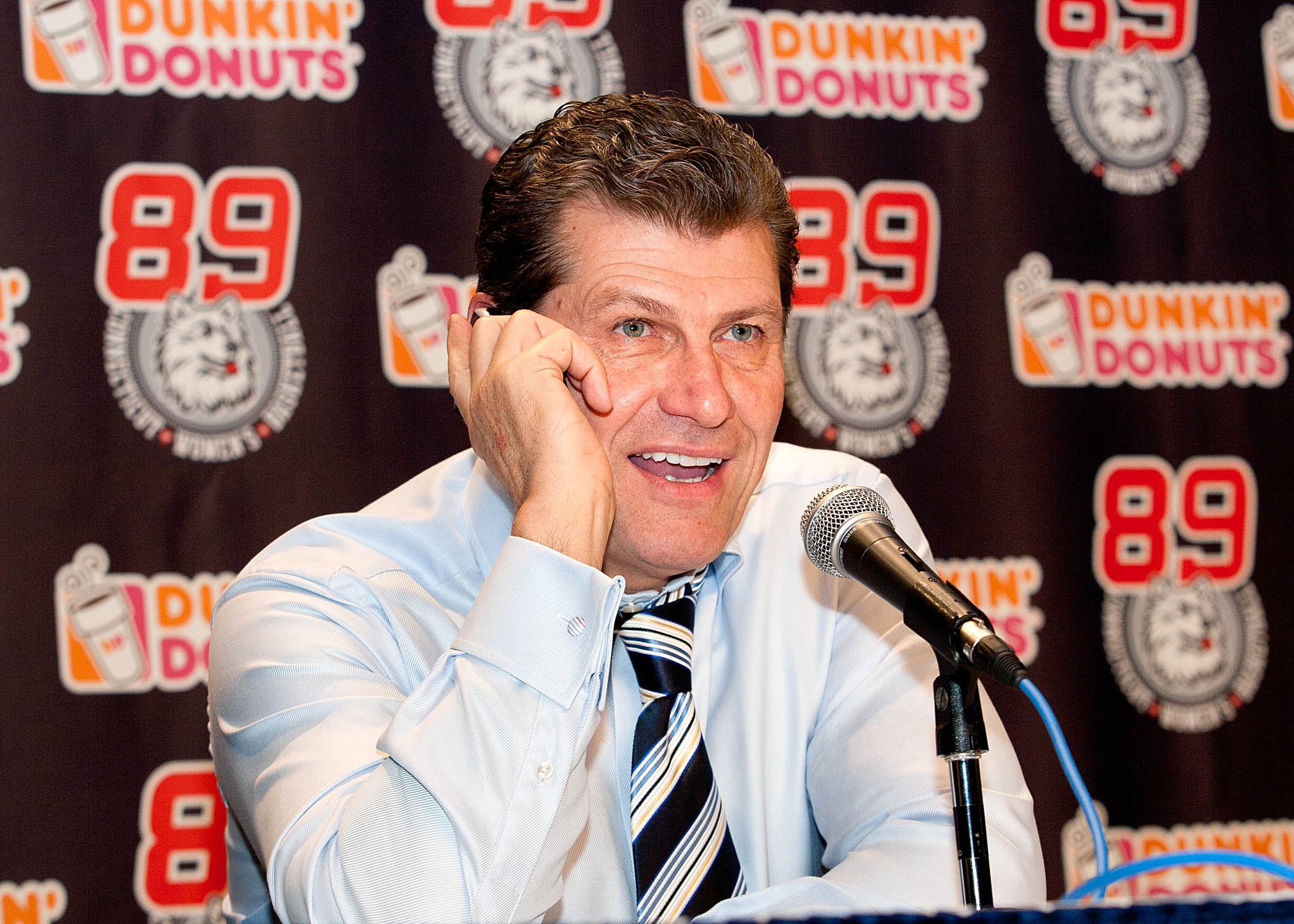 UConn Huskies Coach Geno Auriemma Takes a Call from the President