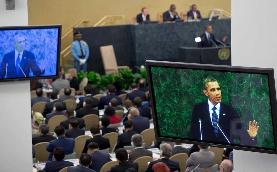 President Barack Obama delivers remarks during his address to the United Nations General Assembly