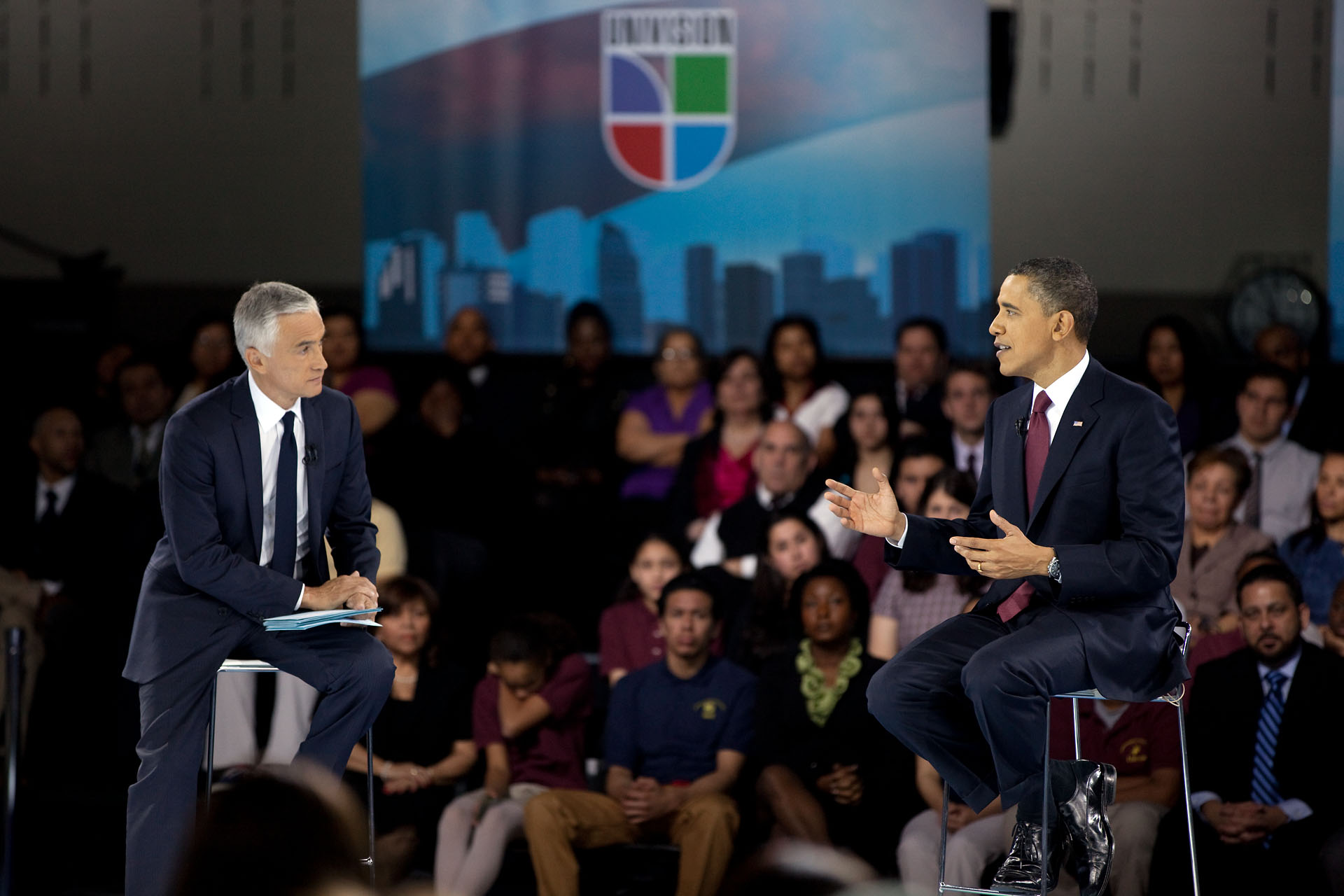 President Barack Obama with moderator Jorge Ramos at a Town Hall Meeting Hosted by Univision - Spanish