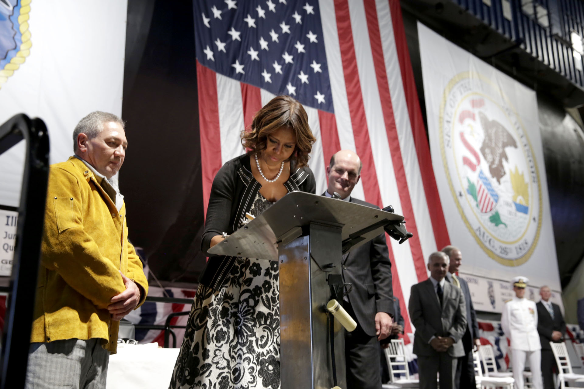 First Lady Michelle Obama Participates In Ceremony For New US Navy Submarine – ILLINOIS