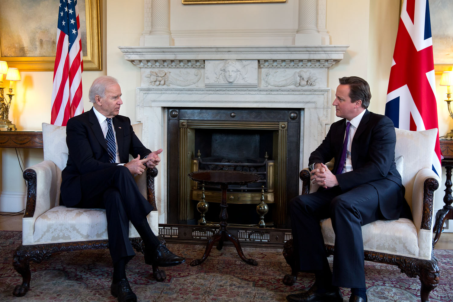 Vice President Joe Biden meets with British Prime Minister David Cameron
