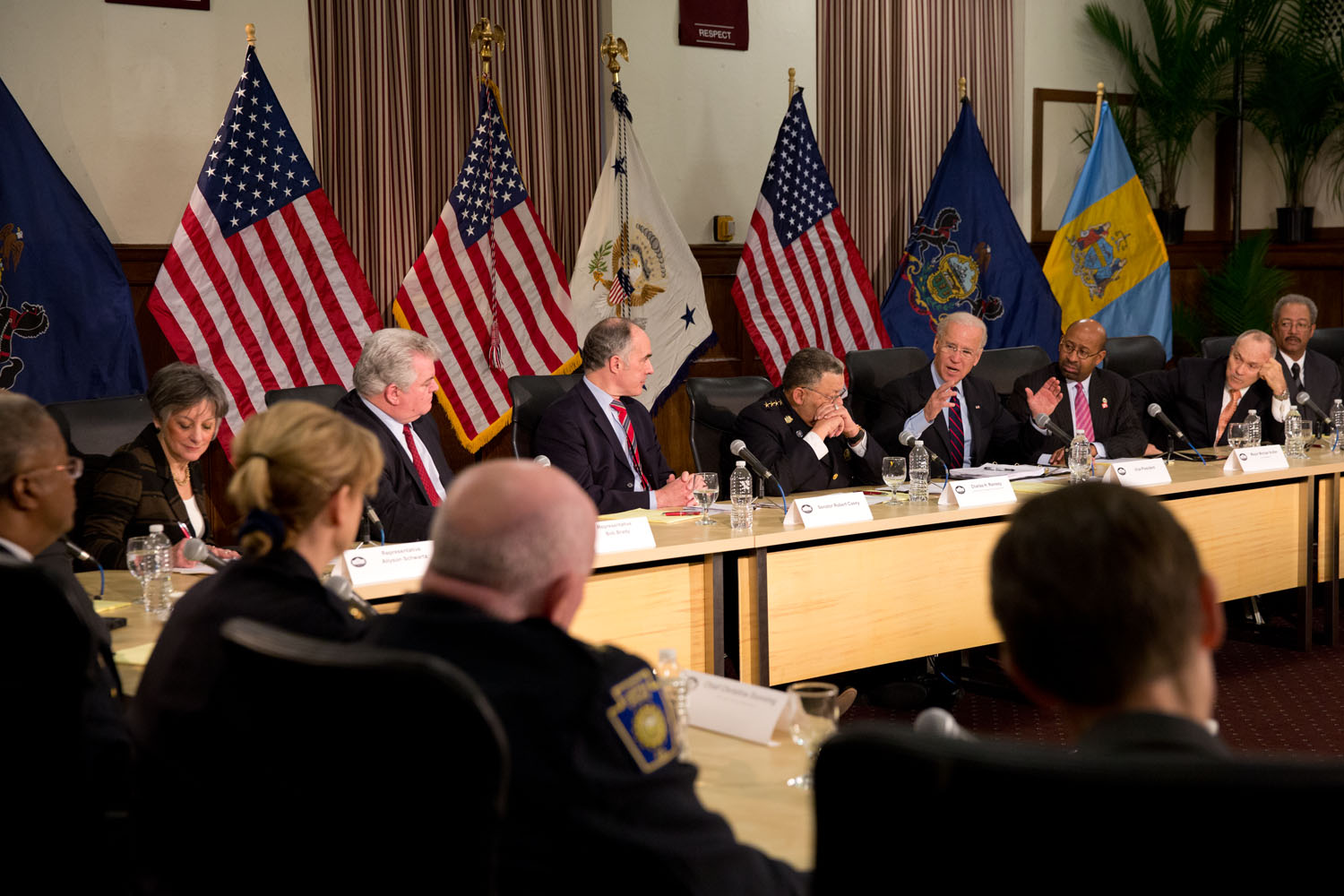 Vice President Joe Biden holds a roundtable with law enforcement officials