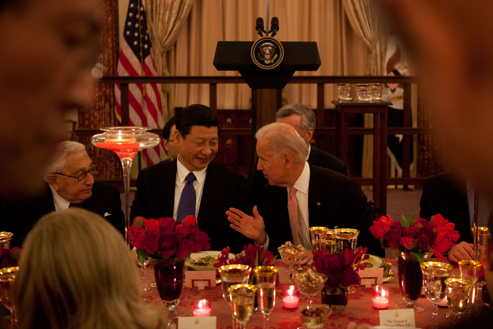 Vice President Joe Biden with Chinese Vice President Xi and former Secretary of State Henry Kissinger