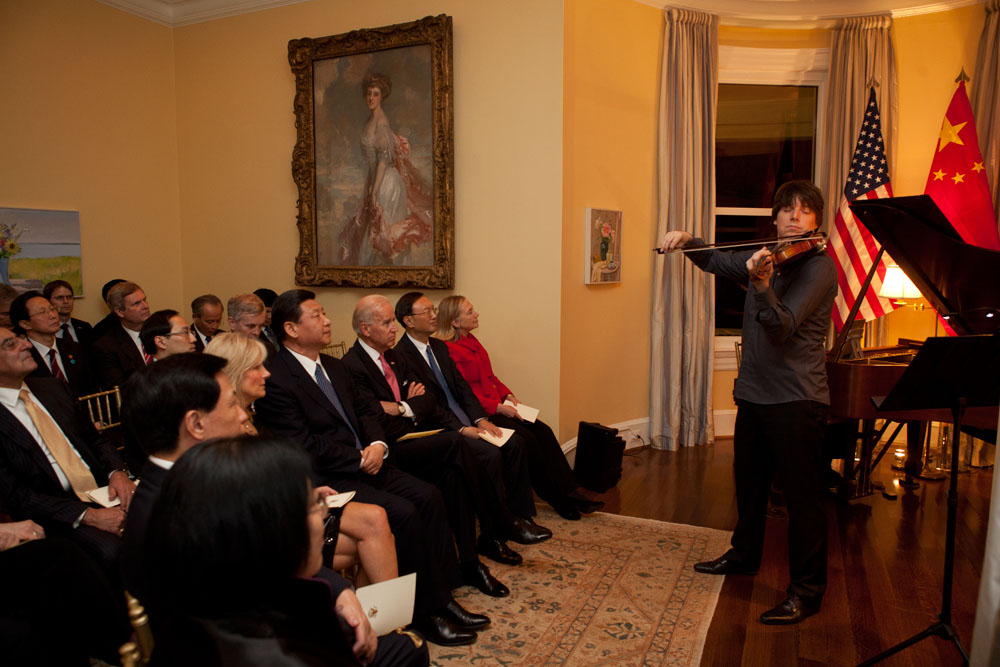Joshua Bell and Sam Haywood perform at the Naval Observatory Residence