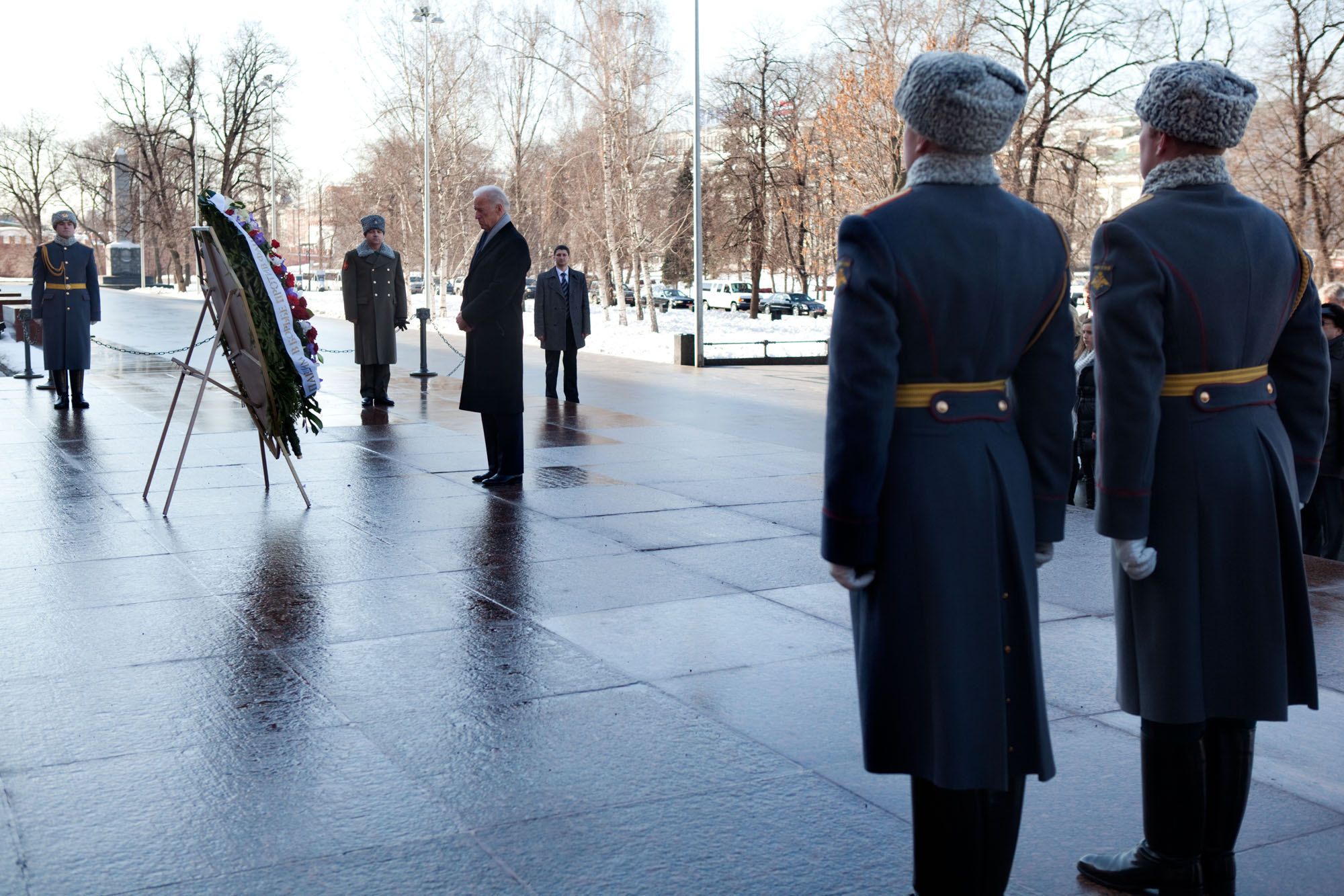 Vice President Joe Biden observes a moment of silence during a wreath   laying ceremony at the Tomb of the Unknown
