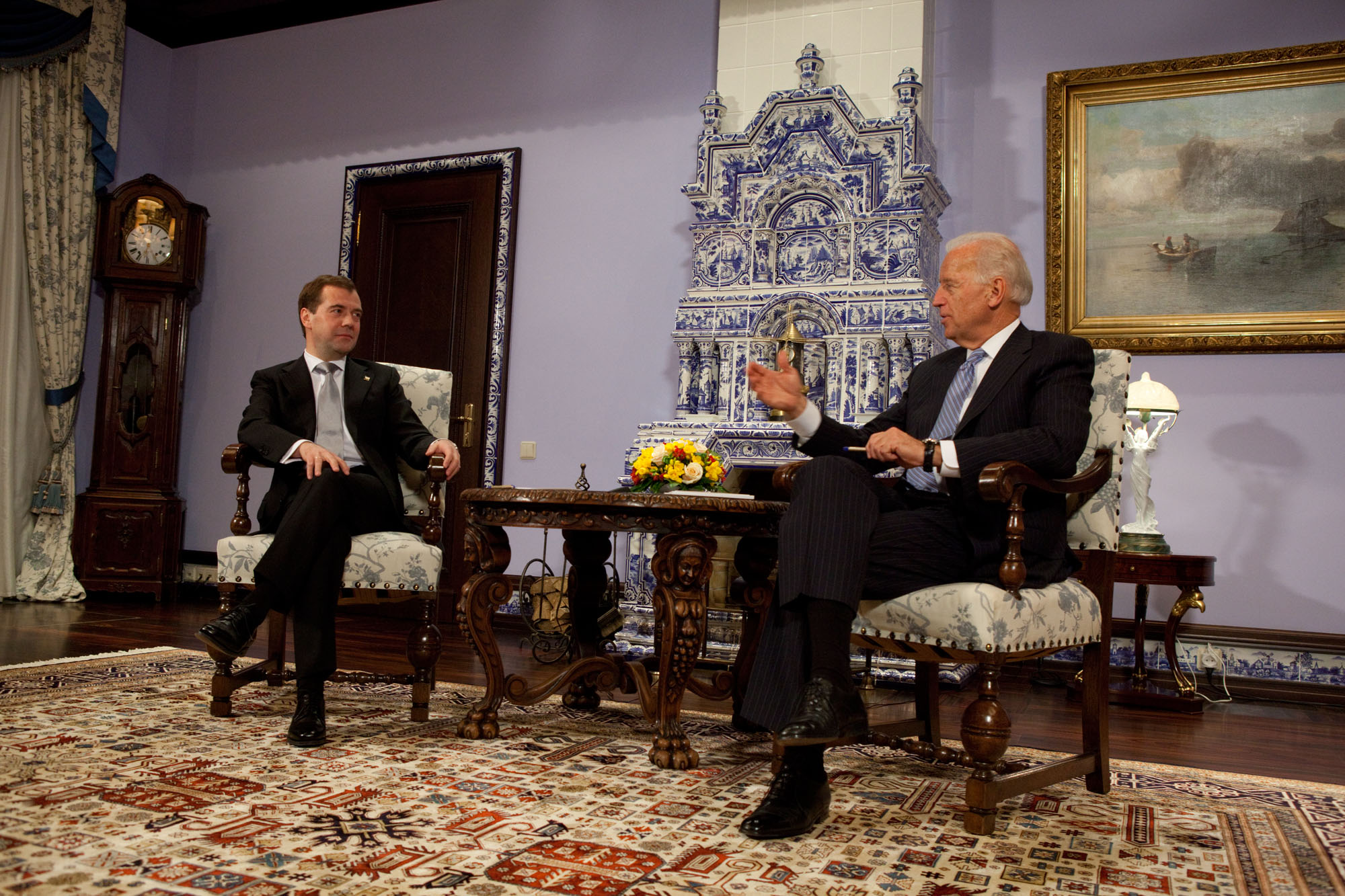 Vice President Joe Biden, talks with Russian President Dmitry Medvedev at the Gorky Dacha