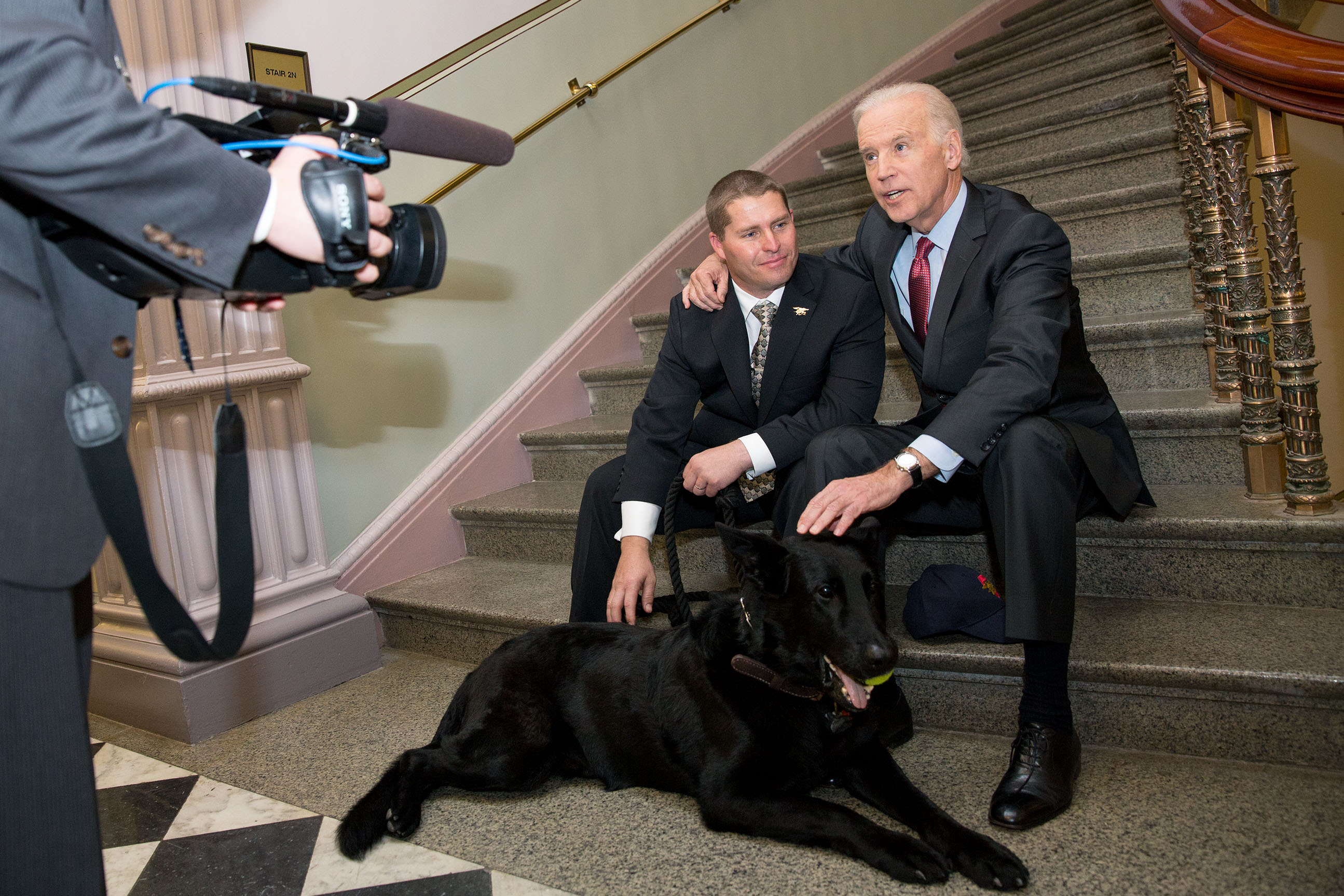 "Vice President Joe Biden meets with SEAL dog ""Chopper"""