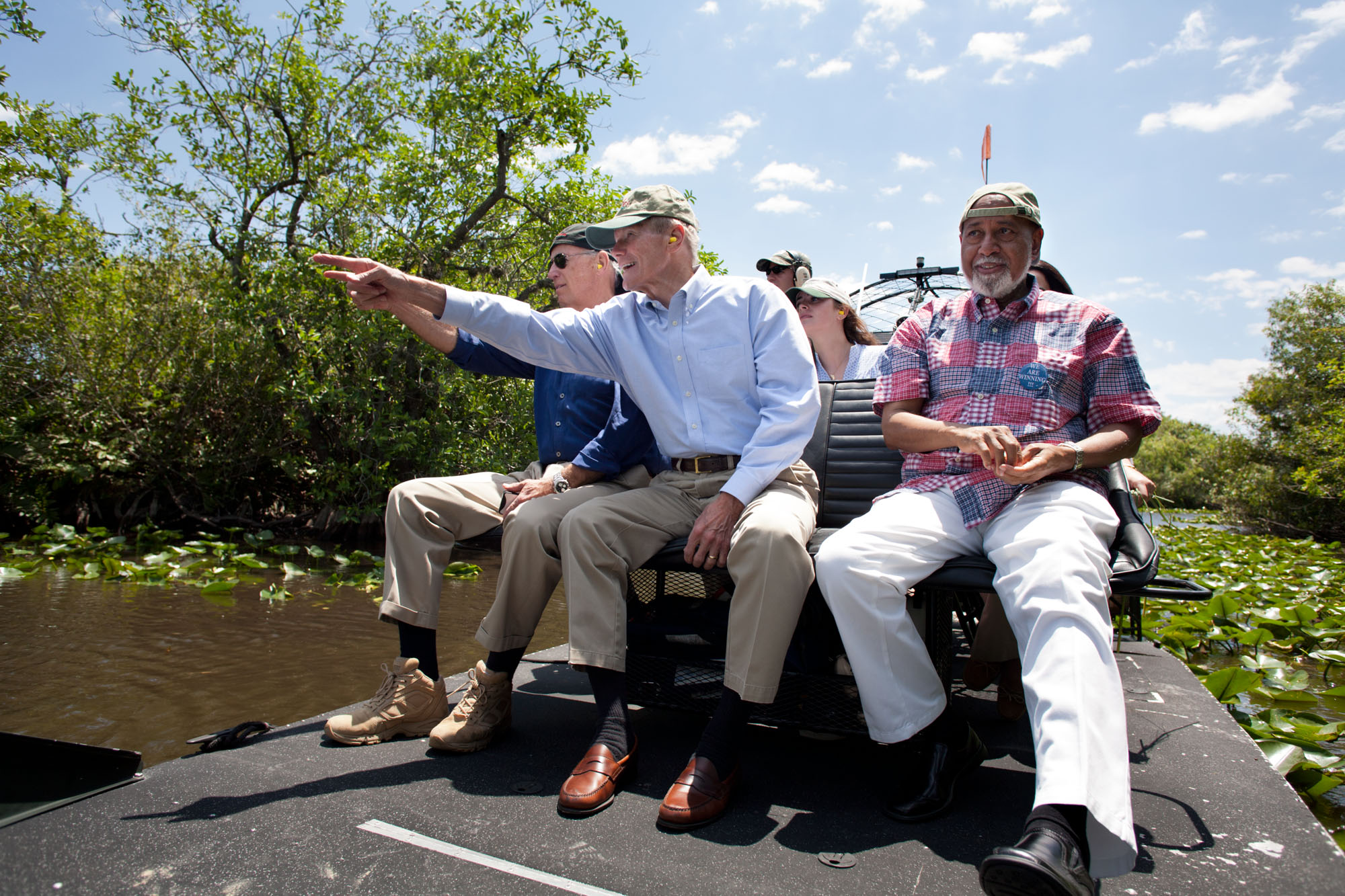 Vice President Joe Biden takes an airboat tour of the Everglades