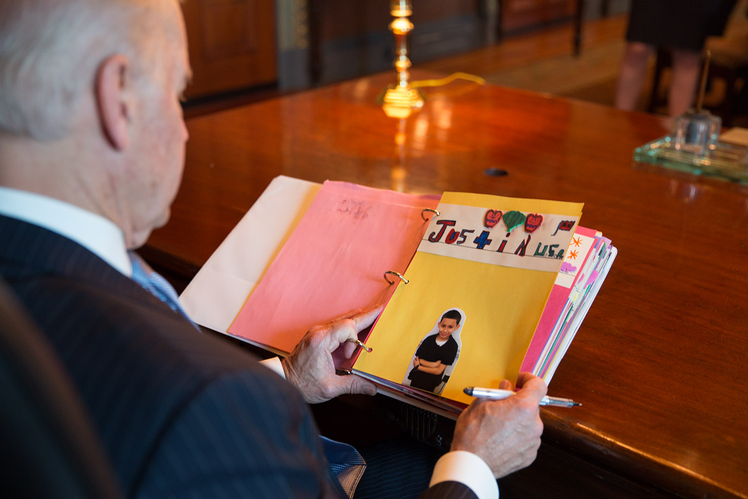 Vice President President Joe Biden reads letters from children about reducing gun violence