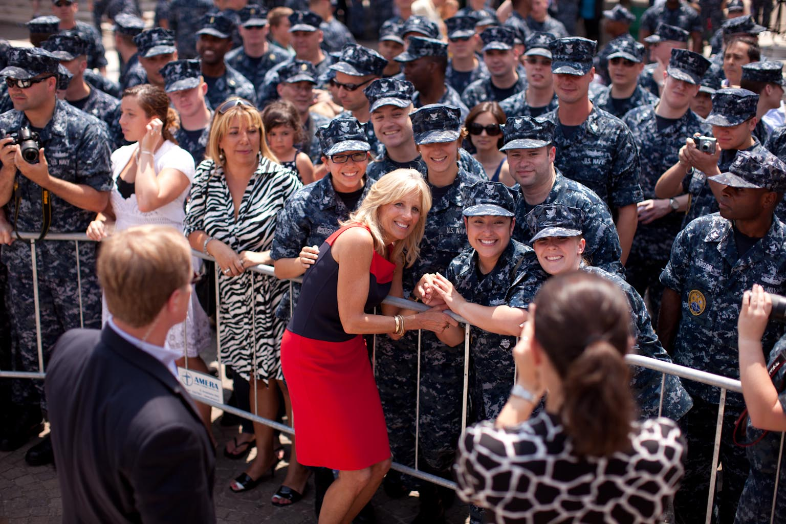 Dr. Jill Biden poses for a photo at the Naval Support Activity Naples