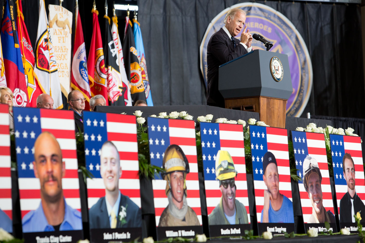 Vice President Joe Biden speaks at a memorial service for the 19 firefighters who died while fighting the Yarnell Wildfire,