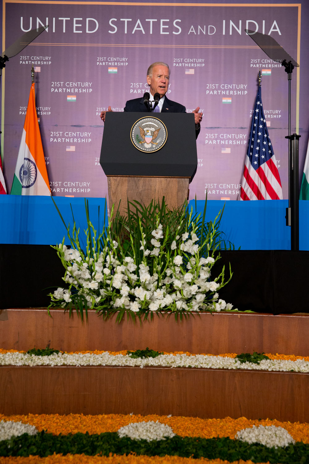 Vice President Joe Biden delivers remarks on the U.S.-India partnership, at the Bombay Stock Exchange, in Mumbai, India
