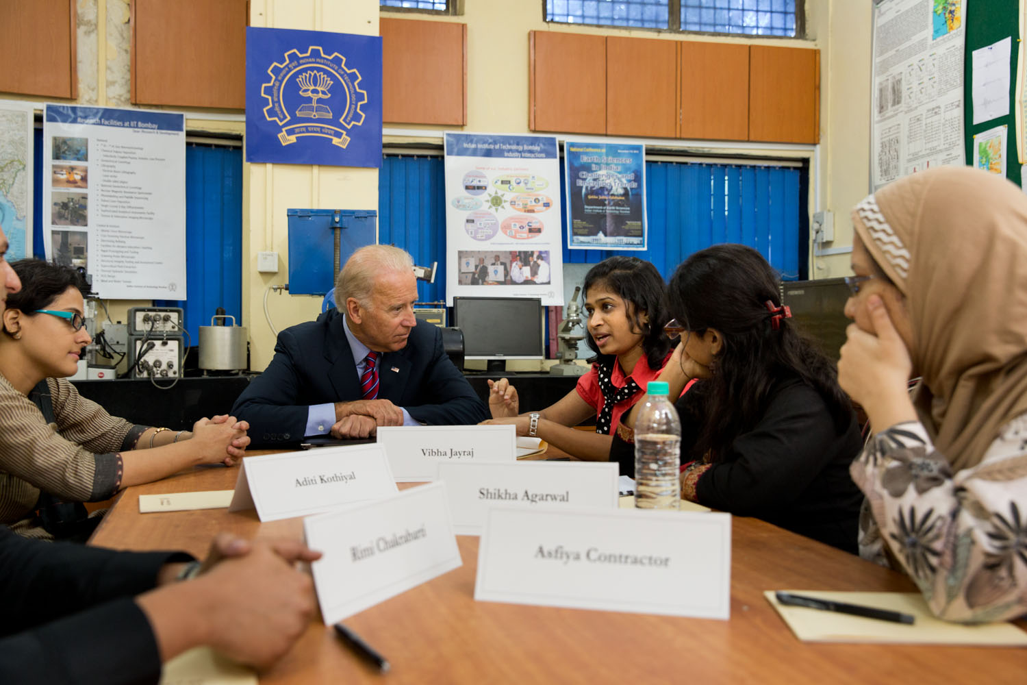 Vice President Joe Biden meets with female students at the Indian Institute of Technology, in Mumba