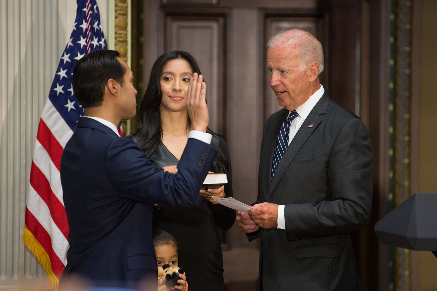 Vice President Joe Biden ceremonially swears in Julian Castro as Secretary of Housing and Urban Development