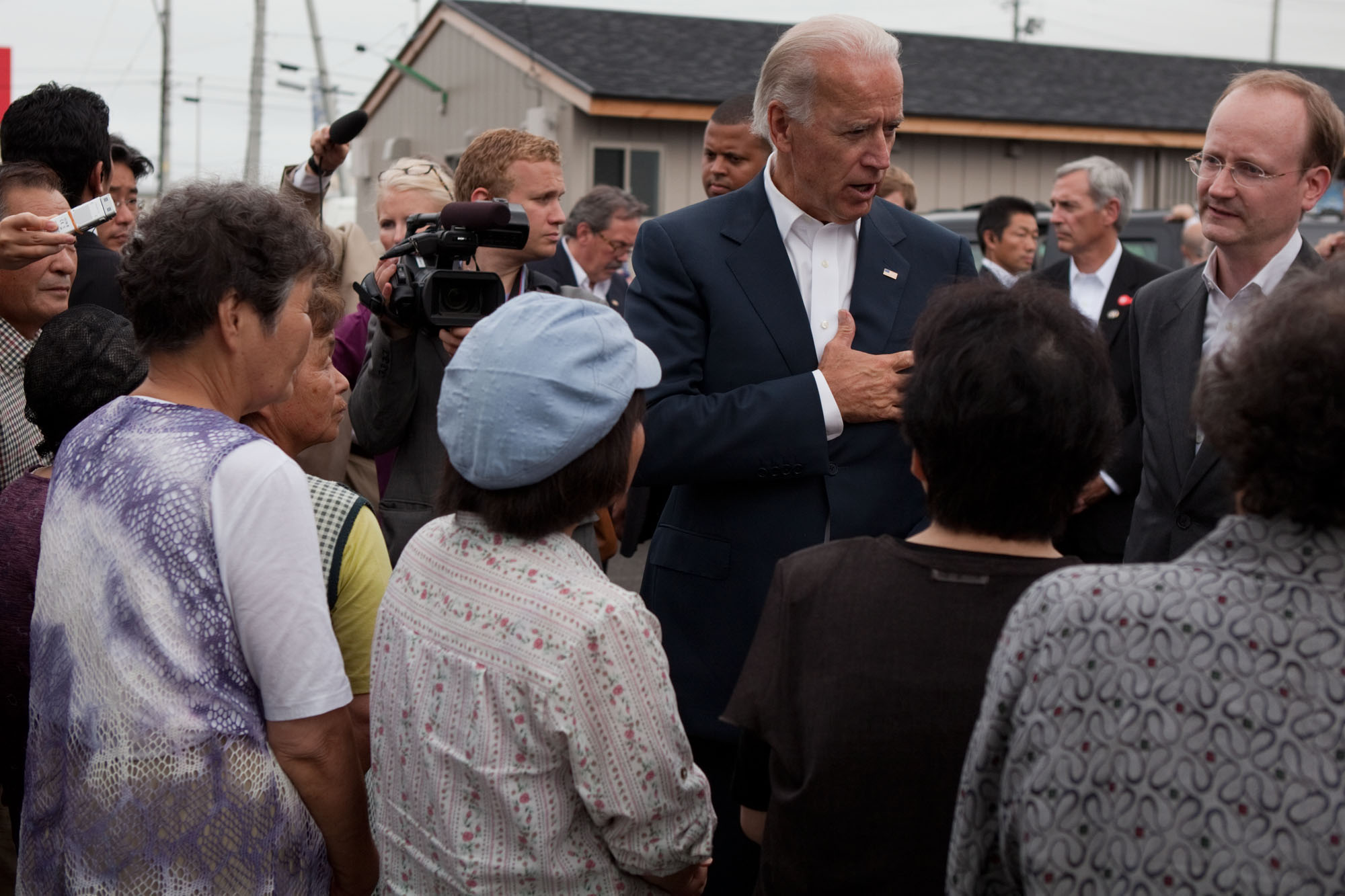 Vice President Joe Biden talks to Survivors of the Japanese Tsunami in Natori