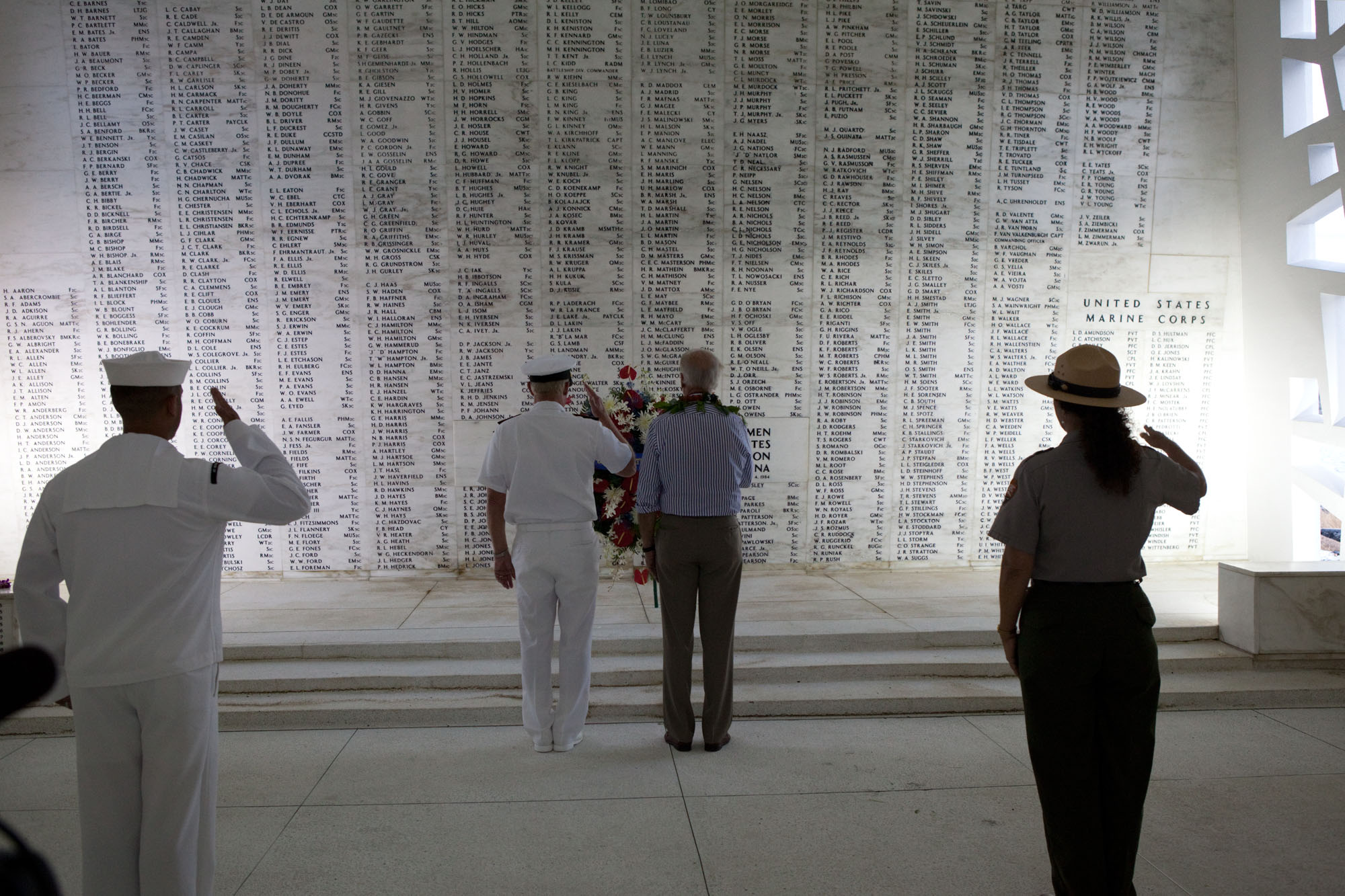 Vice President Joe Biden pays his respects at the USS Arizona Memorial