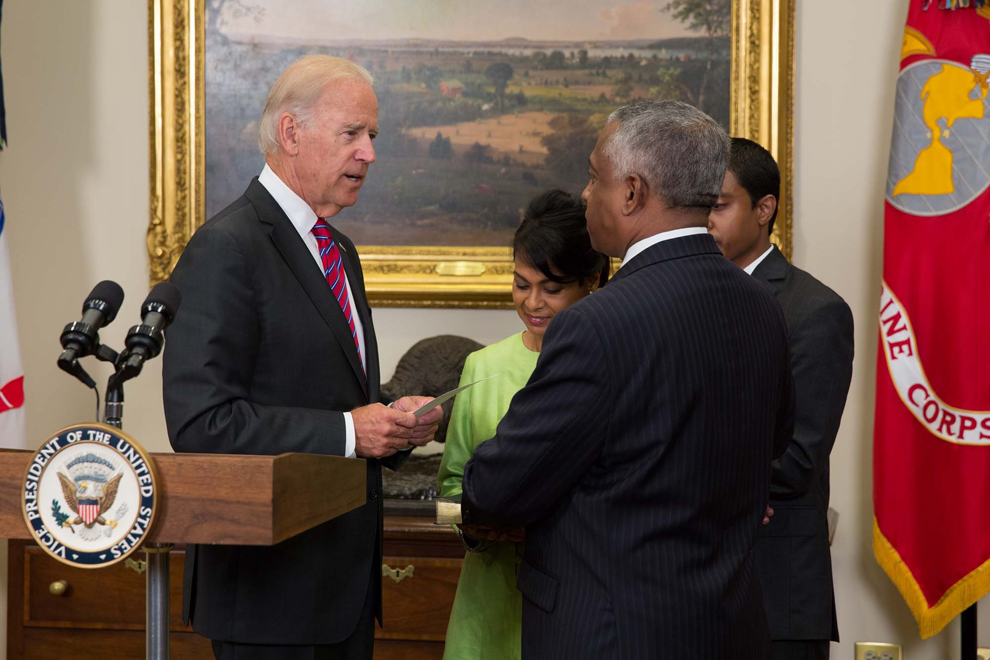 Vice President Joe Biden ceremonially swears in Todd Jones as Director of the Bureau of Alcohol, Tobacco, Firearms and Explosives