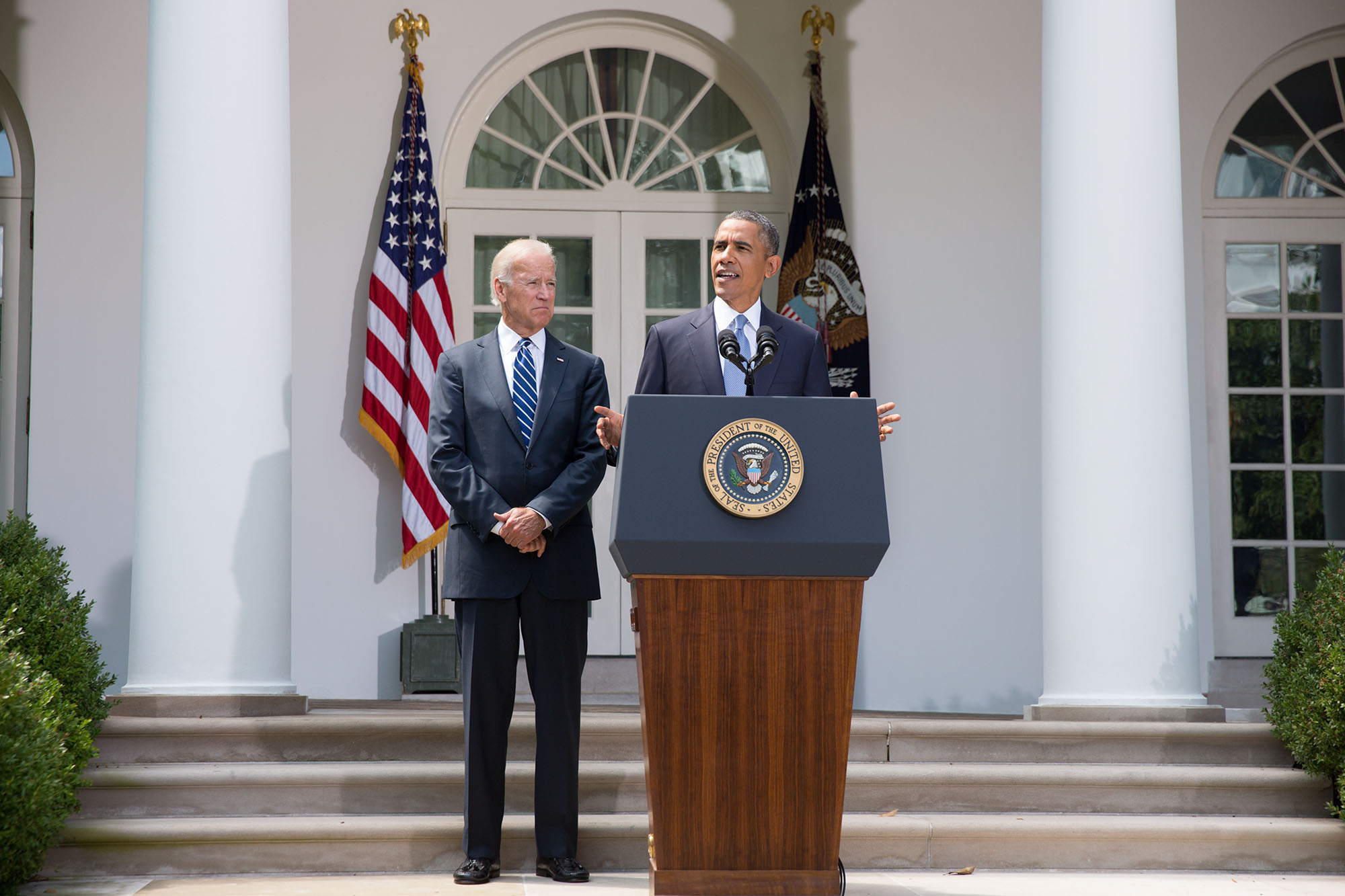 President Barack Obama makes a statement on the situation in Syria, with Vice President Joe Biden, in the Rose Garden
