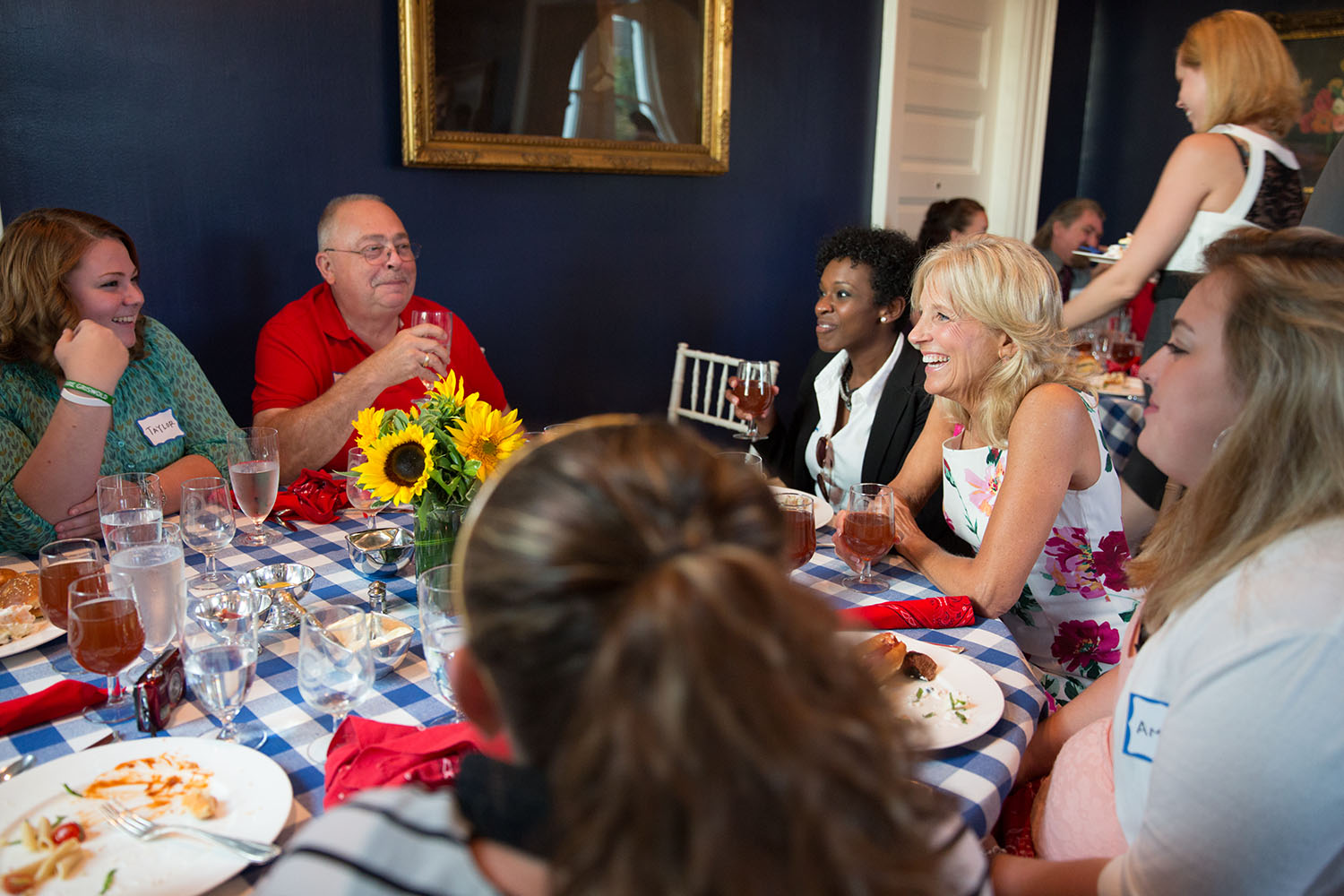 Dr. Jill Biden chats with attendees during a barbecue